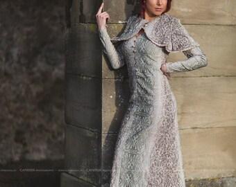 Kleid elegant edel schick WGT viktorianisch Picknick elegant bodenlang Knöpfe Perlmutt