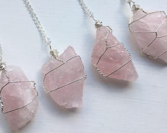 Raw Rose Quartz Crystal Necklace on Silver Plated chain