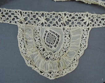 Vintage Victorian Lace Trim, 3 Long Pieces of Lace and Silk Chiffon Dress Remnants