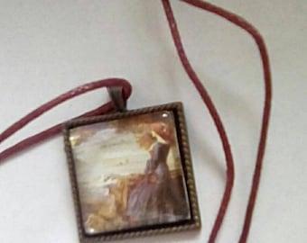 Necklace Pre Raphaelite style square pendant
