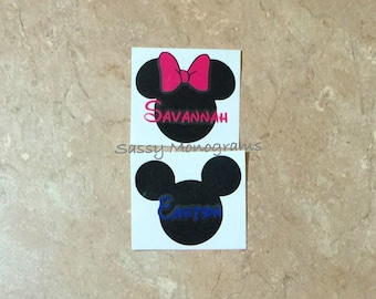 Mickey or Minnie Mouse Personalized Monogram Vinyl Decal