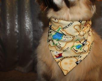 Pirate treasure map slide on dog bandana