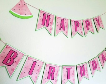 Watermelon birthday banner,  Watermelon happy birthday banner,  Watermelon banner, happy birthday banner