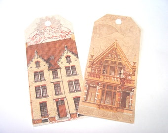 House Gift Tags -  Set of 8 - Vintage House Tags - Architecture Tags - Shabby Home Tags - Thank Yous - Merchandise Tags - City Tags