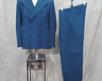 1940s Suit 40L Blue Pin Stripe Dbl Breasted Vintage Suit Gangster Swing