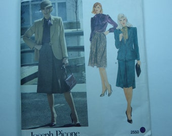 Vintage Vogue American Designer Pattern 2550 Joseph Picone Jacket, Skirt and Blouse Misses Size 14 Factory Fold