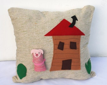 house and pig handwoven pillow toy