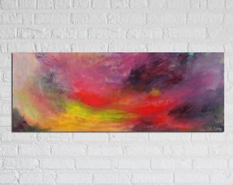 "Abstract Painting / Contemporary Art / Original Artwork. ""Poison Rain"" Acrylic on Canvas 12x32"""