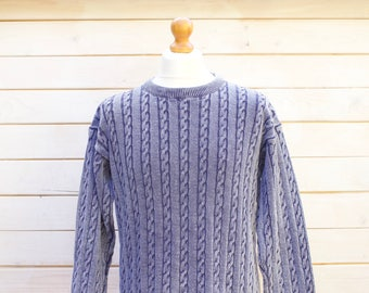 Vintage Thin Cable Knit Jumper Size - Medium