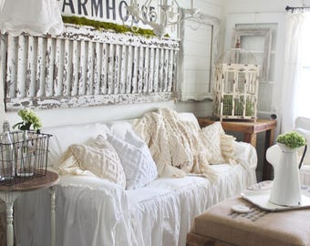 SlipCover | Ruffled Slipcover | Sofa Cover | Sofa Scarf | Slip Cover | Couch Cover | Farmhouse Decor | Shabby Chic Sofa | Cottage