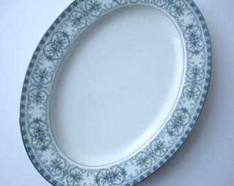 Noritake Burlington Blue Green Oval Serving Platter
