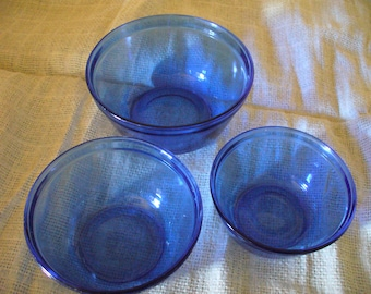 Vintage Cobalt Blue Glass, Anchor Hocking Ovenware Mixing Bowls, Cobalt Blue Set of 3 Glass Mixing Bowls, Blue Mixing Bowl Set