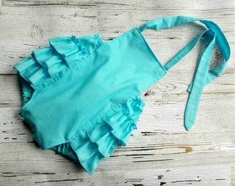 Turquoise Bubble Romper - Baby Bubble Romper -  Baby Romper - Baby Girl Romper - Solid Turquoise - Romper -  Sunsuit - Photo Prop - Vintage