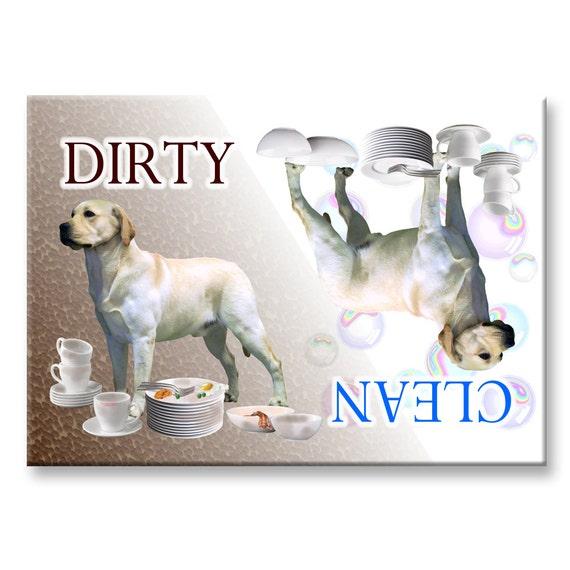 Labrador Retriever Clean Dirty Dishwasher Magnet (Yellow)