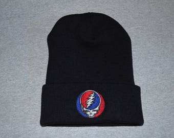 Grateful Dead -- Steal Your Face -- Embroidered on a  Black Cuffed Beanie -- FREE Shipping