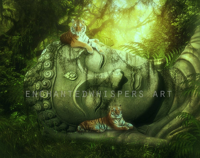 Tigers on Buddha statue art print