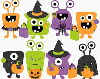 halloween monsters clipart clip art digital - Halloween Monsters Digital Clipart - BUY 2 GET 2 FREE