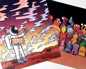 Two, full-colour, character posters by Alex Hahn; 'Space Please!' and 'Martian School Photo' (featuring Blop); Free UK P&P!