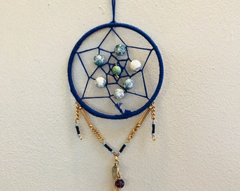 Royal blue beaded Dream Catcher small