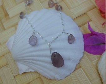 Lavender seaglass necklace wrapped in sterling silver wire hung on sterling silver chain