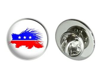 "Libertarian party porcupine metal 0.75"" lapel hat pin tie tack pinback"