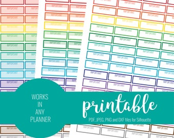 RAINBOW Important Stickers, Printable Important Stickers, Blank Important Stickers, Printable Planner Stickers, ECLP, MAMBI Stickers