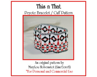 Peyote Bracelet Pattern ... THIS n THAT ... Geometric . Three Color . Intricate . Jewelry Tutorial . Beadweaving . PDF . Modern . 3 for 2