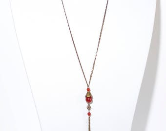 Tulip long necklace red agate