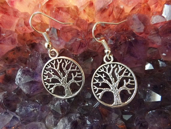 Tree Of Life Textured Earring Earrings Ear Ring Rings Drops Drop Dangle Dangles Pagan Wiccan Wicca Spiritual Eternity Family Immortality