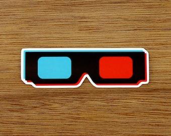3D Glasses - Vinyl Sticker - Laptop/Bumper/Skate/Decal