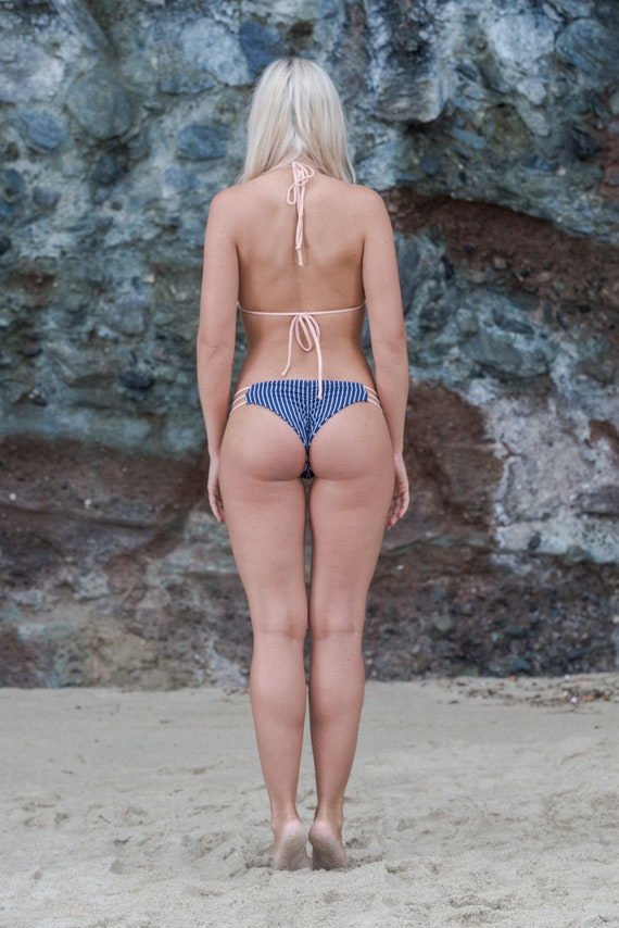 Our Skye Bottom in Navy and White Pin Stripes made by Sultry Swimwear®