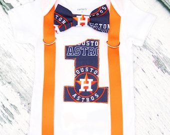 Baby Boy Houston Astros baseball Theme bow tie Suspender first birthday baby Boy Cake Smash Outfit, Boy first Birthday,  Boy 1st birthday