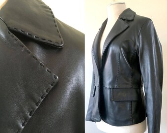 Stitched Black Leather Jacket Vintage Genuine Leather Blazer Petite Small