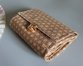 """5.5 """" Beige white cards and coins wallet"""