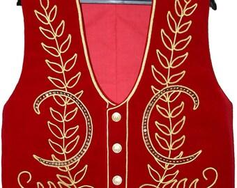 Vest Course Landaise reserved on measurements, in velvet.