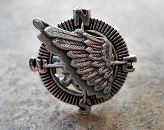 THE ORIGINAL Winged Navigator Steampunk Compass Ring in Silver