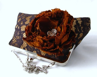 15% OFF SALE - Black lace clutch with copper satin inlay and rust silk flower embellishment