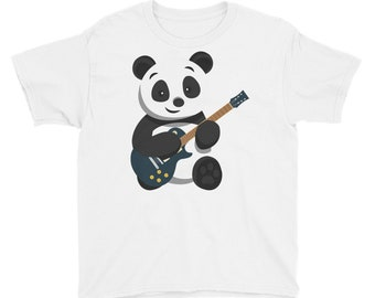 Youth Short Sleeve T-Shirt - Panda Bear Shirt - Pandas - Teddy Bear - Muisc - Rockstar - Guitar - Gift