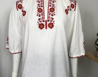 Vtg 70s romanian ethnic embroidered cotton caftan shirt top small