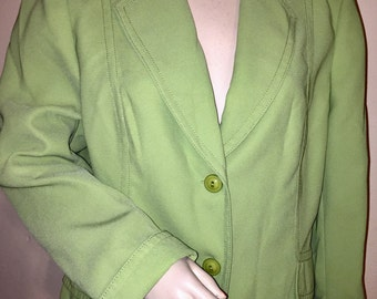 Vintage John Meyer polyester lime green blazer, Sz 18