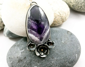 Chevron amethyst pendant, metalsmithed silver necklace, botanical details, oxidized silver pendant, one of a kind jewelry, gift for women