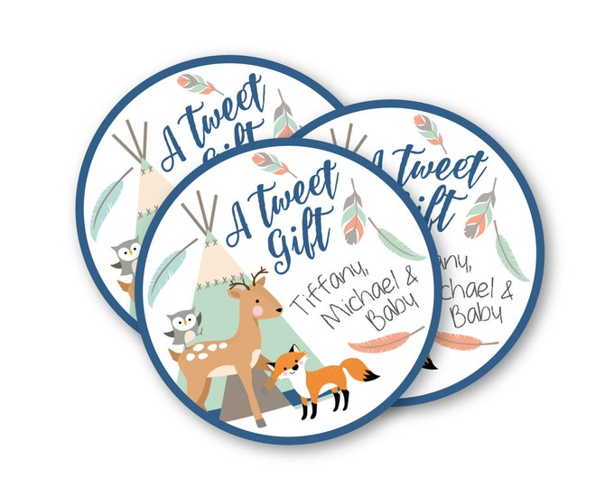Tepee Woodland Baby Favor Tag, Hang Tag,  Gender Neutral, Mint, Woodland Animals Tag, tepee, feathers, arrows, tribal inspired