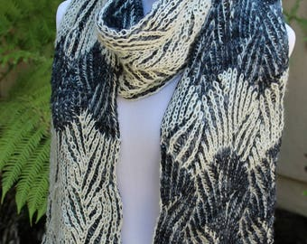 Charcoal Gray and Off White Braided Zebra Pure Merino Wool Hand Knit Brioche Scarf