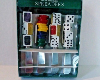 Set of Boston Warehouse poker spreader knives, original box, 1997, dice spreaders, card spreaders, poker chips, stainless steel