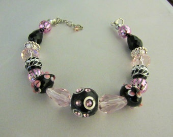 Pink, Black and Silver Glass Beads Bracelet