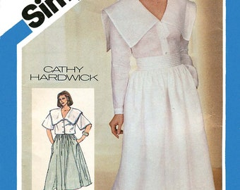 Simplicity 6441 Vintage 1980s oversize-collar top and gathered full skirt uncut sewing pattern