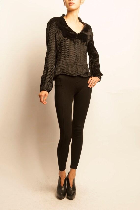 Thierry Mugler couture 1980's black silk v-neck top