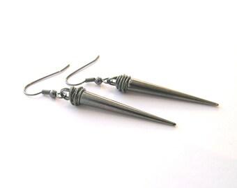 Black Spike Earrings - Long Earrings - Gunmetal Earrings - Spike Jewellery - Dangle Earrings - Grey Earrings