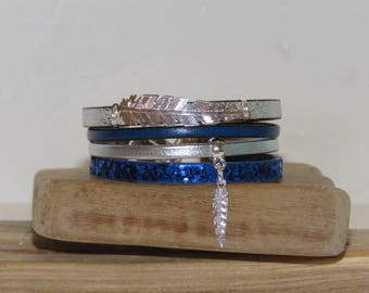 "Cuff Bracelet, multi-row, blue, silver, feather gift teen, leather, glitter ""Blue feather"" pimprenellecreations charm"