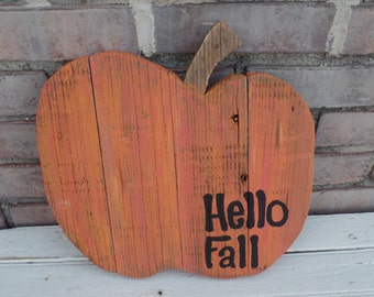 Reclaimed Wood Pumpkin, Pumpkin decor, Wood pumpkin, fall decor, hello fall decor, harvest decor, hello fall sign, pumpkin decorations